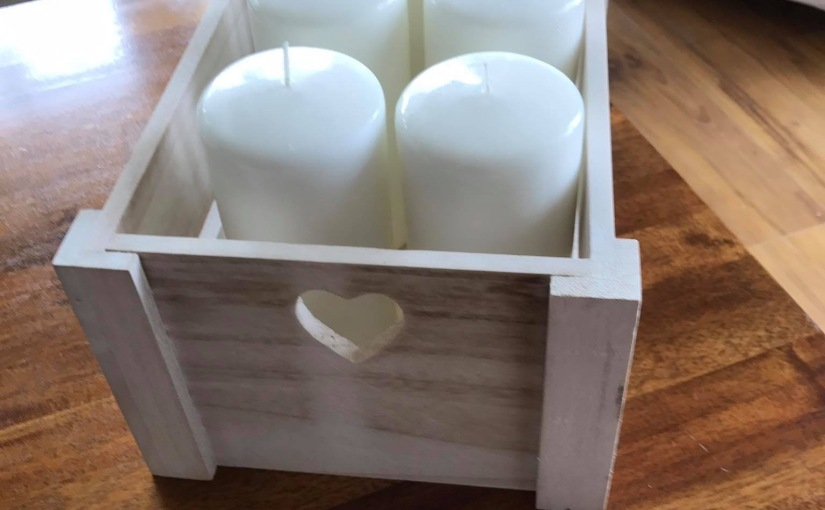 A crate full of candles