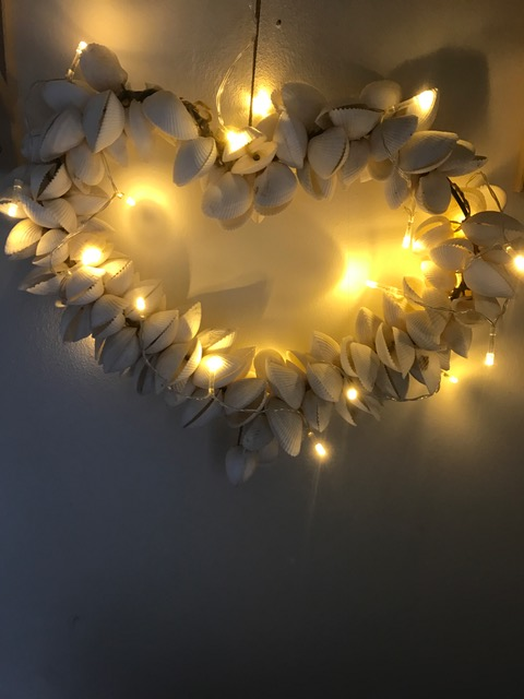 Shell heart from ebay uk and indoor fairy lights from Homebargains