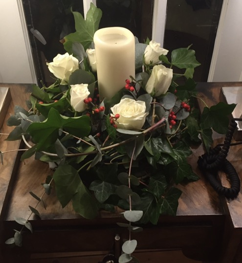 Morrisons flowers and Sainsbury's candle